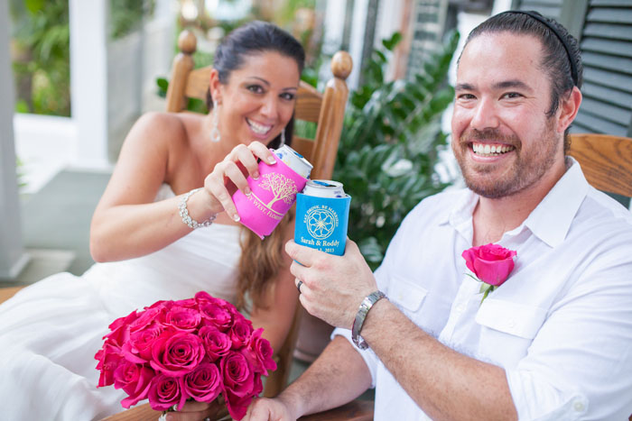 Wedding bride and groom toast in a Key West Wedding Reception